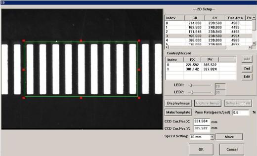 Sistema de inspeção 2D da aplicação de pasta